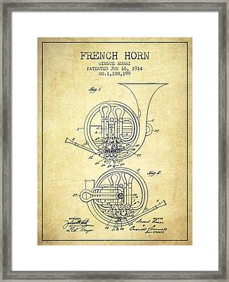 French Horn Patent From 1914 - Vintage Framed Print by Aged Pixel
