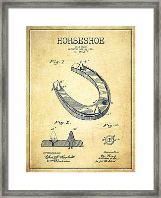 Horseshoe Patent Drawing From 1881 Framed Print by Aged Pixel