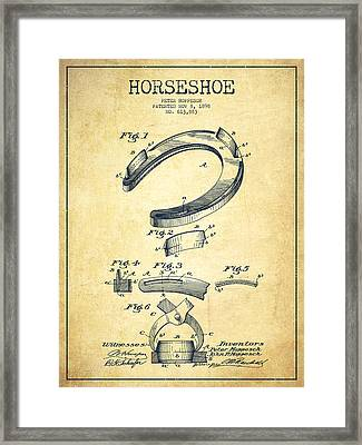 Horseshoe Patent Drawing From 1898 Framed Print by Aged Pixel