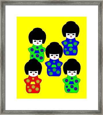 5 Japanese Dolls On Yellow Framed Print by Asbjorn Lonvig