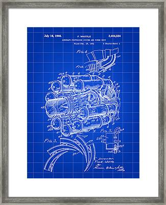 Jet Engine Patent 1941 - Blue Framed Print by Stephen Younts