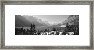 Lake With Mountain Range Framed Print by Panoramic Images