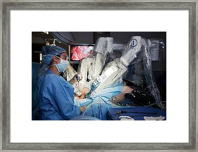 Laparoscopic Robotic Cancer Surgery Framed Print by Jim West