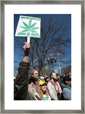 Legalisation Of Marijuana Rally Framed Print by Jim West