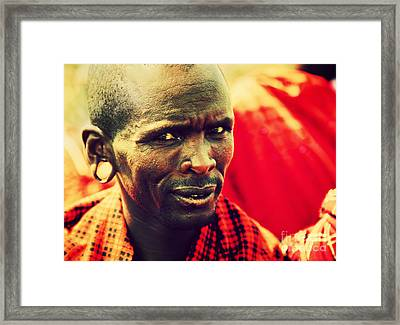 Maasai Man Portrait In Tanzania Framed Print by Michal Bednarek