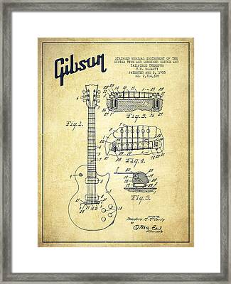 Mccarty Gibson Les Paul Guitar Patent Drawing From 1955 - Vintage Framed Print by Aged Pixel