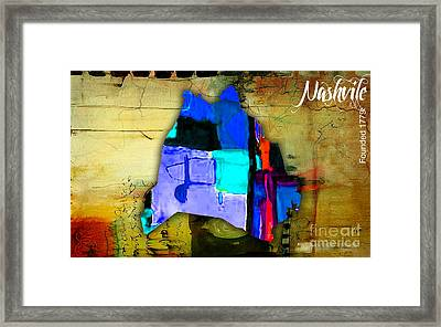 Nashville Map Watercolor Framed Print by Marvin Blaine