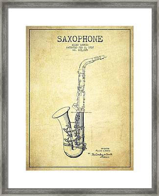 Saxophone Patent Drawing From 1937 - Vintage Framed Print by Aged Pixel