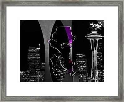 Seattle Map And Skyline Watercolor Framed Print by Marvin Blaine
