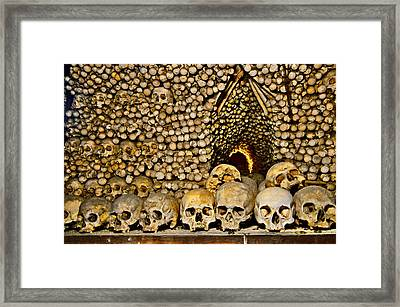 Sedlec Ossuary. Cemetery Church Of All Saints With The Ossuary. Czech Republic. Framed Print by Andy Za