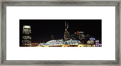 Skylines And Shelby Street Bridge Framed Print by Panoramic Images