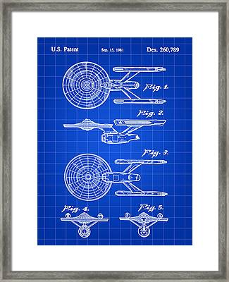 Star Trek Uss Enterprise Toy Patent 1981 - Blue Framed Print by Stephen Younts