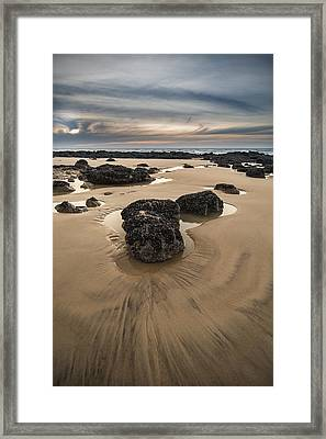 Sunrise Dawn Landscape On Rocky Sandy Beach With Vibrant Sky And Framed Print by Matthew Gibson