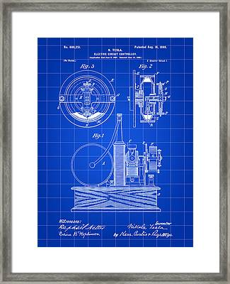 Tesla Electric Circuit Controller Patent 1897 - Blue Framed Print by Stephen Younts