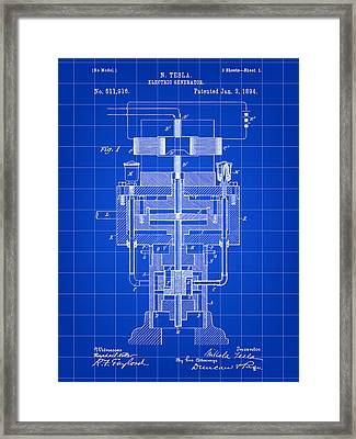 Tesla Electric Generator Patent 1894 - Blue Framed Print by Stephen Younts
