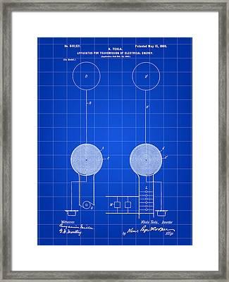 Tesla Electric Transmission Patent 1900 - Blue Framed Print by Stephen Younts