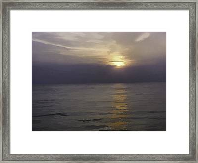 View Of Sunset Through Clouds Framed Print by Ashish Agarwal