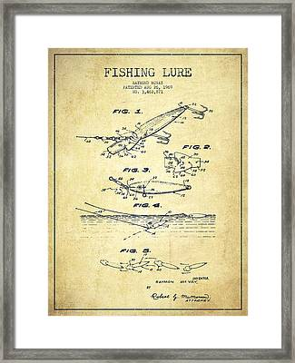 Vintage Fishing Lure Patent Drawing From 1969 Framed Print by Aged Pixel