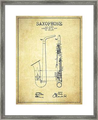 Saxophone Patent Drawing From 1899 - Vintage Framed Print by Aged Pixel