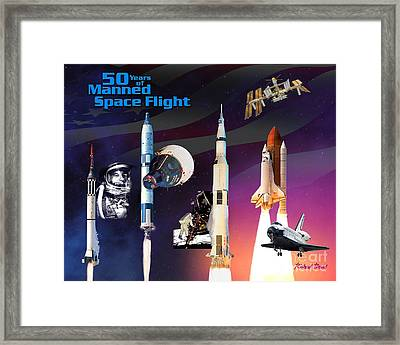 50 Years Of Manned Space Flight Framed Print by Richard Beard