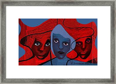 513 -  Masks Or Faces Framed Print by Irmgard Schoendorf Welch