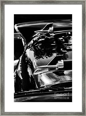57 Chevrolet Hood Rockets Monochrome Framed Print by Tim Gainey