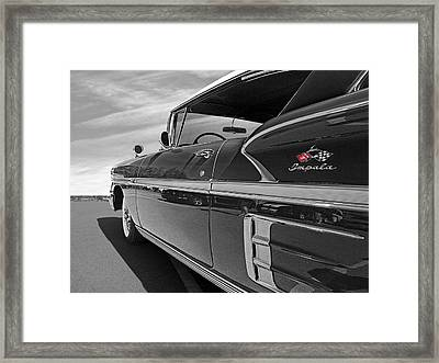58 Chevy Impala In Black And White Framed Print by Gill Billington