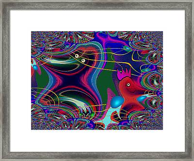 586 - Funny Birdies Abstract Fractal Framed Print by Irmgard Schoendorf Welch