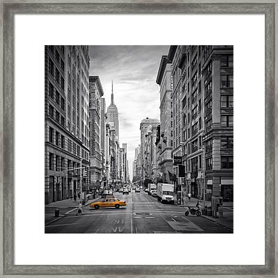 5th Avenue Yellow Cab Framed Print by Melanie Viola
