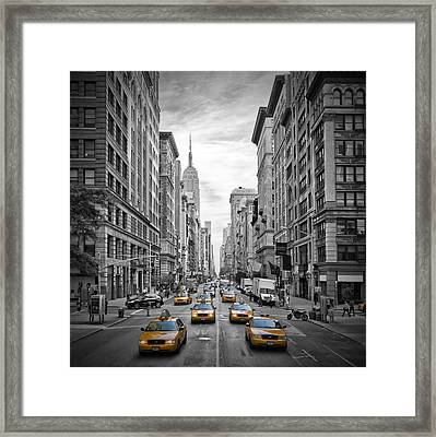 5th Avenue Yellow Cabs Framed Print by Melanie Viola