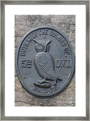 5th Ohio Owl Marker Gettysburg Framed Print by Randy Steele