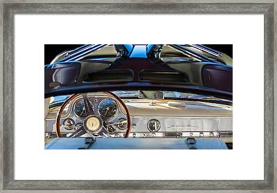 1955 Mercedes-benz Gullwing Dashboard - Steering Wheel Framed Print by Jill Reger
