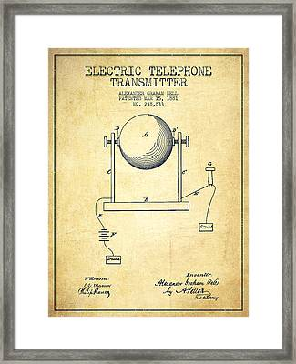 Alexander Graham Bell Electric Telephone Transmitter Patent From Framed Print by Aged Pixel
