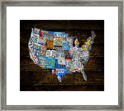 Continental Usa License Tag Map Framed Print by Brian Reaves