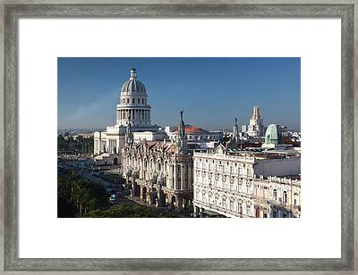 Cuba, Havana, Elevated City View Framed Print by Walter Bibikow