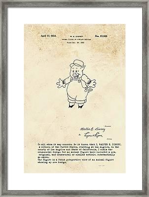 Disney Pig Patent Framed Print by Marlene Watson