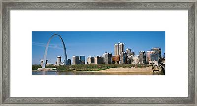 Downtown Buildings And Gateway Arch Framed Print by Panoramic Images