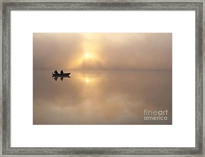 Fisherman In Boat, Lake Cassidy Framed Print by Jim Corwin