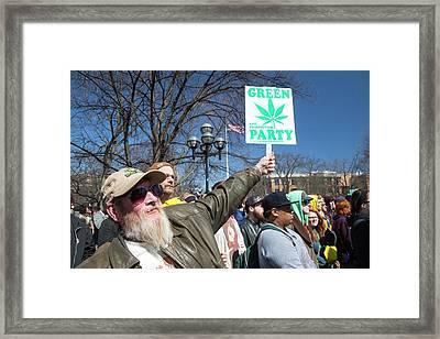 Legalisation Of Marijuana Rally Framed Print by Jim West
