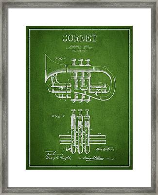 Cornet Patent Drawing From 1901 - Green Framed Print by Aged Pixel