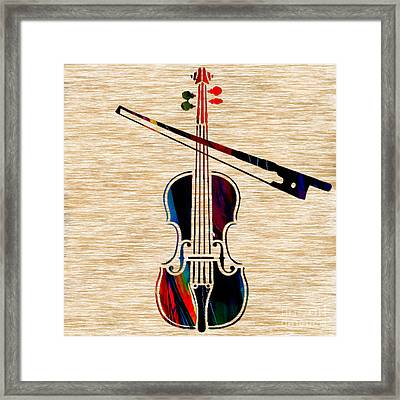 Violin And Bow Framed Print by Marvin Blaine