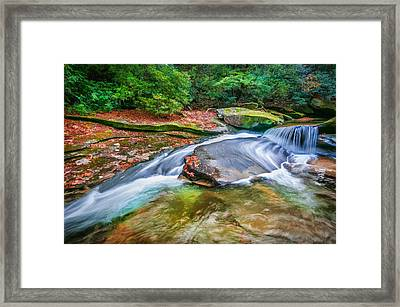 Waterfalls Great Smoky Mountains Painted Framed Print by Rich Franco