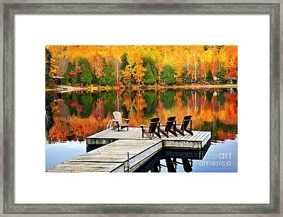 Wooden Dock On Autumn Lake Framed Print by Elena Elisseeva