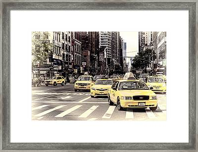 6th Avenue Nyc Yellow Cabs Framed Print by Melanie Viola
