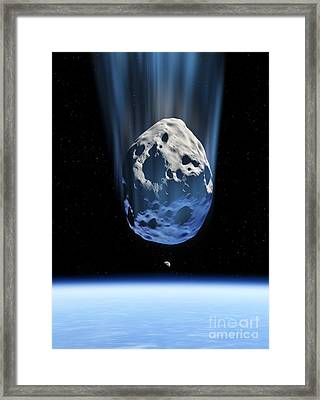 Asteroid Approaching Earth, Artwork Framed Print by Detlev van Ravenswaay