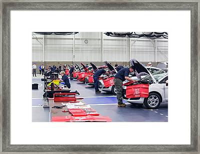 High School Auto Repair Competition Framed Print by Jim West