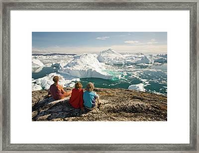 Icebergs From The Jakobshavn Glacier Framed Print by Ashley Cooper