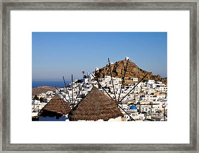 Ios Town And Windmills Framed Print by George Atsametakis