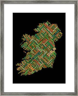 Ireland Eire City Text Map Framed Print by Michael Tompsett