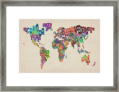 Text Map Of The World Framed Print by Michael Tompsett